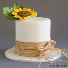 Sunflower and burlap Boutique cake by Intricate Icings