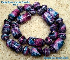 Paper Beads Aurora Borealis  Set B   by PassionForPaperBeads on Etsy