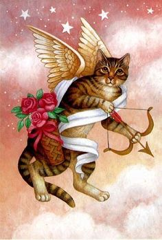 Angel Cat with Cupid Bow ~*~ Stephanie Stouffer http://www.stephaniestouffer.com/portfolio.php