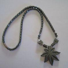 ~Lovely~ Hematite Genuine Gemstones Magnetic Therapeutic Leaf Pendant Necklace