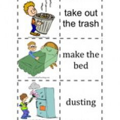 Chores Flash Cards Word List: Take Out the Trash, Make the Bed, Dusting, Wash the Dishes, Walk the Dog, Clean the Cat Litter, Wash the Windows, Do the Laundry, Rake the Leaves, Vacuum, Mow the Lawn, Get the Mail, Ironing, Water the Plants, Unload the Dishwasher, Wash the Car, Sweep the Floor, Pull the Weeds, …