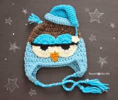 Crochet Drowsy Owl Hat ~ Repeat Crafter Me
