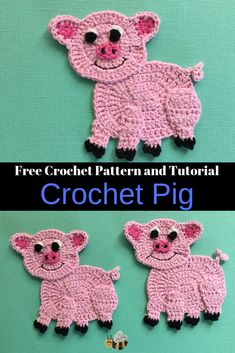 Get this free crochet pattern of this crochet pig at Kerri's Crochet, along with many other crochet animals. #FreeCrochetPattern #CrochetPig #CrochetAnimals