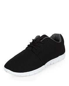 Black Textured Lace Up Sports Trainers | New Look