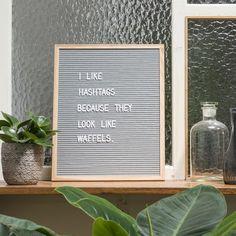 Funkk Letters Felt Message Board 40.6x50.8cm Grey