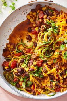 Spiralized zucchini corn and black beans join ground beef in an easy taco skillet that comes together in about half and hour! Taco Skillet Recipe, Skillet Meals, Beef Recipes, Healthy Recipes, Healthy Meals, Eating Healthy, Crack Slaw, Fire Roasted Tomatoes, Healthy Tacos