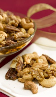 Sweet 'n Spicy Nuts - If you're going to splurge on nuts during the holidays, make these tasty treats. Believe me, every extra calorie is worth it. Make these nuts ahead of time (they keep for a month) and/or give as gifts in a holiday tin box.