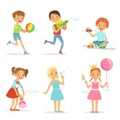 Small Girls Playing With Toys Characters Illustration Character