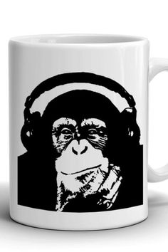 Coffee mug with a picture of a monkey in headphones/Boyfriend Gift/Сoffee mug/Work mug/Office mug/Banksy Monkey/Best Birthday gift/Present Banksy Monkey, Mug Crafts, Best Birthday Gifts, Boyfriend Gifts, Different Colors, Coffee Mugs, Print Design, Vibrant, Headphones