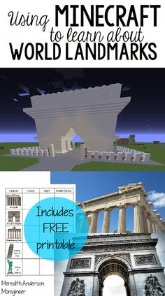 Using Minecraft to Learn About World Landmarks - includes FREE printable. Great STEAM activity for learning about geography, history, and architecture. | Meredith Anderson - Momgineer