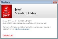 """Wersja oprogramowania Java wyświetlana w oknie dialogowym """"About Java"""" z panelu Java Control Panel"""