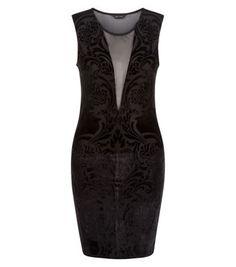 Black Velvet Abstract Mesh Panel Bodycon Dress