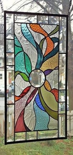 Rainbow Stained Glass Panel Window Hanging Flames Sunray Stained