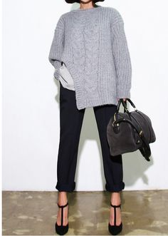 Cable knit gray sweater, black pants and t strap shoes / great fall outfit