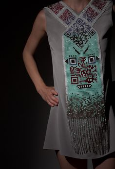 Icelandic designer Thorunn Arnadottir stylishly combines QR codes with traditional African beadwork