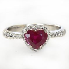 Anello con rubino anello di fidanzamento anello a cuore