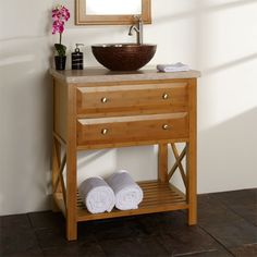 """30"""" Clinton Bamboo Vanity Cabinet with Travertine Top for Vessel Sink"""