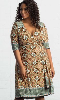 Beguiling Border Wrap Dress - TURQUOISE MIX PRINT