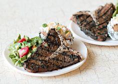 T-bone steak, baked potato, tossed salad