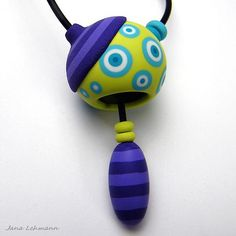 Wonderful vibrant colors for pendant in polymer clay by Jana Lehmann