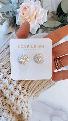 Pearl cluster bridesmaid earrings! Personalized cards, box and ribbon! Bridal party gift! Thank you!