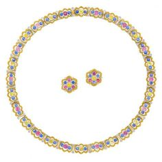 Two-Color Gold and Multicolored Sapphire Necklace and Pair of Earclips, Buccellati 18 kt. yellow & white gold, 98 round blue, pink & yellow sapphires ap. 19.00 cts., necklace signed Buccellati, no. C4426, earrings signed Buccellati, no. C5708 & C5108, ap. 45.2 dwts. Length 16 inches.  Estimate: $15,000 - $20,000