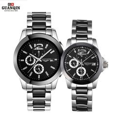 147.69$  Watch here - http://aligwg.worldwells.pw/go.php?t=32707776184 - GUANQIN Ceramics Couples Lovers' Watches Multifunction Waterproof Automatic Mechanical Watches Men Women Sport Luminous Clock 147.69$