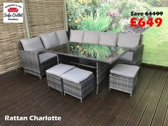 969542fe7882 Homeflair Rattan Garden Furniture Charlotte grey Corner sofa + dining table  + 3 stools set £