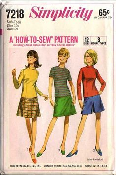 1967 mod Split skirted shorts, fitted blouse, mini skirts. Pre-teens', Junior Petites' and Misses' Blouse, Skirt and Pantskirt -- The skirt and pantskirt without waistband have side zipper. The A-line skirt V. 1 & 3 are regular, knee length. The pantskirt V. 2 is above knee-length. The blouse has back zipper, set-in sleeves and slightly lowered round neckline. Blouse V. 1 &2 have bias roll collar and long sleeves. Collarless blouse V. 3 has short sleeves.