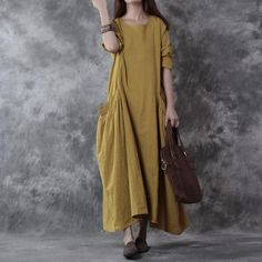 Women cotton linen loose fitting long sleeve dress - Buykud