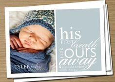 Baby Announcement: Baby Girl, Baby Boy Birth Announcement, PRINTABLE (First Breath Photo Birth Announcement). $15.00, via Etsy.
