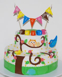 Owl Baby Shower Cake ~ NutMeg Confections