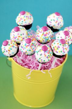 Super fun, cheerful, adorable little Confetti Cake Pops. #confetti #cake #pops #birthday #party #food #baking #cooking #dessert #snacks
