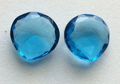 2 Pcs Blue Hydro Quartz Matched Pair Rose Cut by gemsforjewels