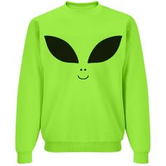 Bright Alien Face Top | Get a bright a cool neon Alien Face crewneck sweathshirt that is out of this world. Wear it to raves, parties, area 51 or to show that you are really an alien on the inside. #alien