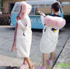 Women Winter Warm Duck Down Jacket Long Hooded Fur Parka Sweet Overcoat Outwear