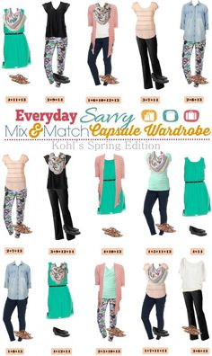 Fun new  Kohl's Capsule Wardrobe with pops of color and jogger pants. These pieces make 15 complete mix and match outfits with shoes and accessories.
