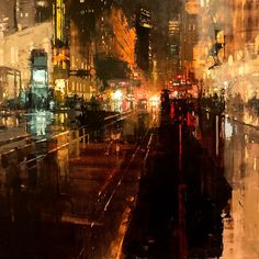 "art-and-skin: "" rhubarbes: "" Jeremy Mann - Artist ""Another Night Through Storms"" Oil on Panel 36 x 36 inches. 2015 More art here. Urban Painting, City Painting, Artist Painting, City Art, Pintura Exterior, Old Art, Urban Landscape, Beautiful Paintings, Urban Art"