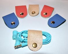 Leather Cord holder, Leather Earphone Holder, Cable Holder, Earphone Case, Cable Case Cord holder organizer earbud holder leather holder