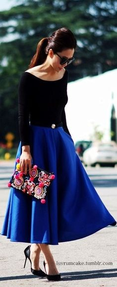 midi a-line royal blue skirt