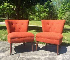 Pair Of Original Vintage Mid Century Modern Kroehler 1950u0027s Orange Slipper  Chairs By NielsenModerne On Etsy