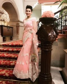 Ethereal Grace!   Shalini Passi is exquisite in a blush pink sari by Abu Jani Sandeep Khosla.    #abujanisandeepkhosla #function  #Beautiful #stunning #sari #abujani #sandeepkhosla #traditionalwear #indianwear #designerwear #designs #fashion #designer #colours #pink #blushpink #gorgeous