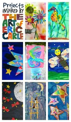 Beautiful art projects inspired by Eric Carle books by kristy Kindergarten Art Projects, Ecole Art, Art Lessons Elementary, Eric Carle, Preschool Art, Preschool Kindergarten, Preschool Learning, Art Lesson Plans, Art Classroom