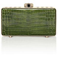 """Bougeotte Titanium """"Best Secret Keeper"""" Clutch in Green Crocodile (504.730 RUB) ❤ liked on Polyvore featuring bags, handbags, clutches, green, clasp purse, crocodile embossed handbags, embellished handbags, croco embossed handbags and clasp handbag"""