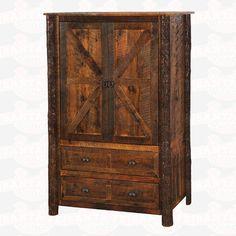 Fireside Lodge Furniture Barnwood Two Drawer Wardrobe #Armoire #rusticfurniture   http://www.santaferanch.com/