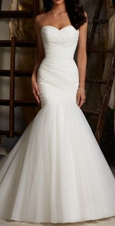 Simple Sweetheart Mermaid Bride Dress, Sweep Train Organza Wedding Dress Lace-up