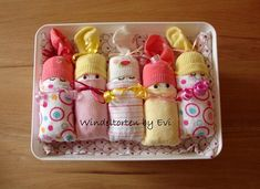 Product title: diaper babies in the box for girls Original birth or baptism gift for girls Diaper cake with diaper babies - storage basket The eye-catcher at any baby shower! This cute diaper gift, all for the baby is usable! I lovingly wrap them several high-quality ingredients