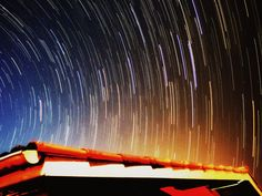 trail of the stars: hundreds of pictures overlapped