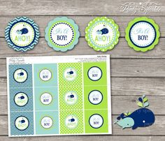 INSTANT DOWNLOAD - AHOY It's A Boy! Whale Green and Blue Baby Shower Party Circle Cupcake Toppers - Digital Printable pdf file on Etsy, $4.99