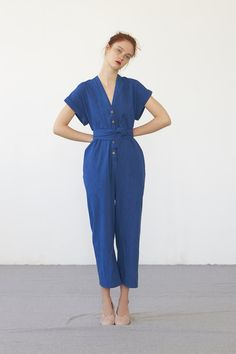 fead8d28193 AIKO jumpsuit (washed indigo cotton) Overalls